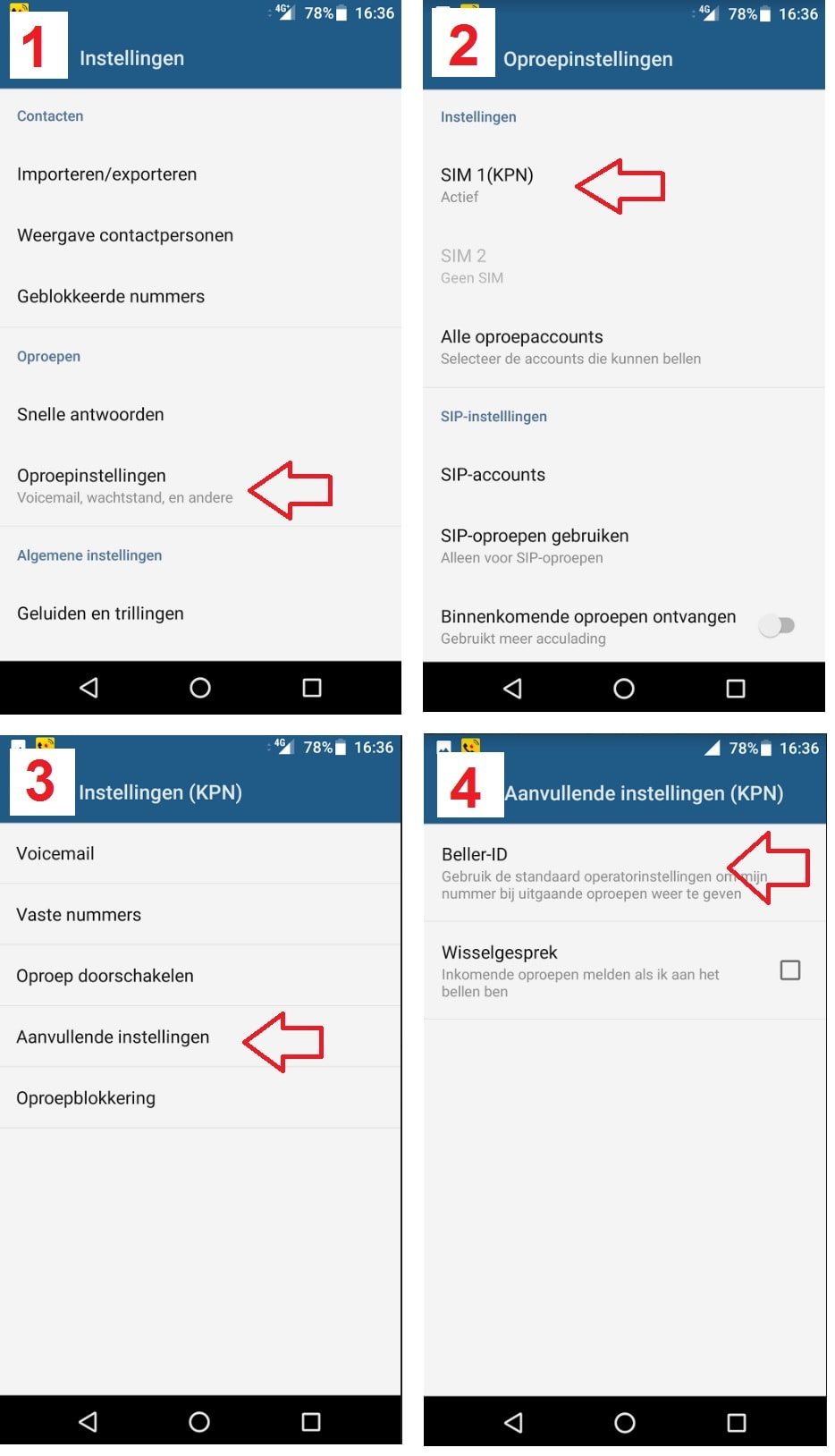 Android stappen Beller-ID