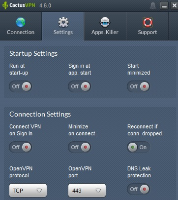 CactusVPN Settings