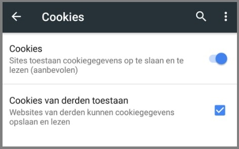 Cookies toestaan chrome