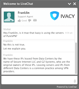 Ivacy reactie servers