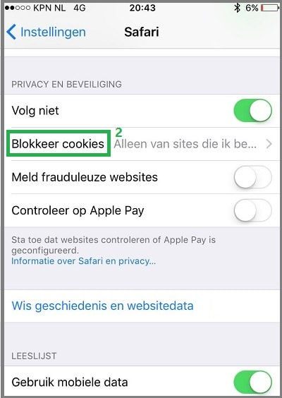 Safari iOS cookies beheren stap 2