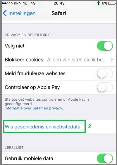 Safari iOS cookies wissen stap 2