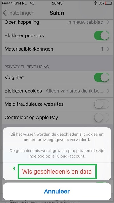 Safari iOS cookies wissen stap 3