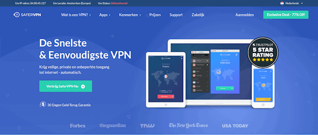 SaferVPN website
