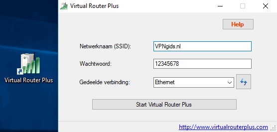 Virtual Router Plus menu