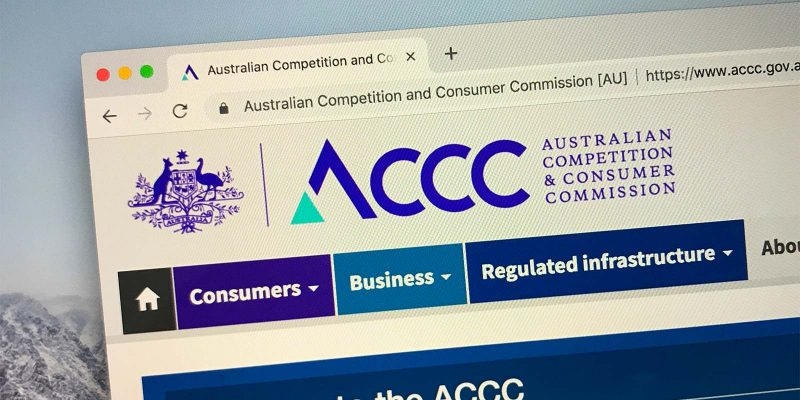 Schermafbeelding van de website van de Australian Competition and Consumer Commission (ACCC)