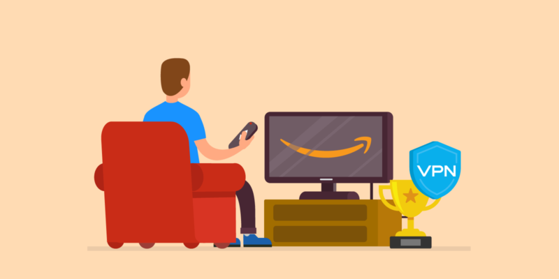 Man kijkt Amazon Fire TV met VPN Trofee