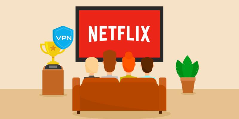 Gezin kijkt Netflix op TV met VPN