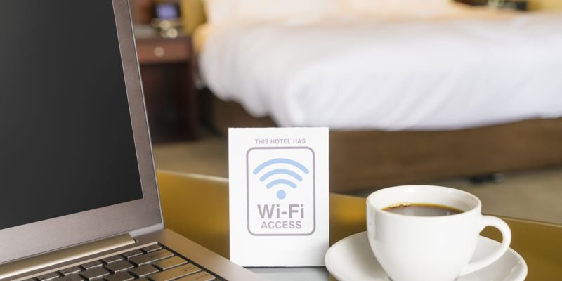 Wifi access bordje in hotel