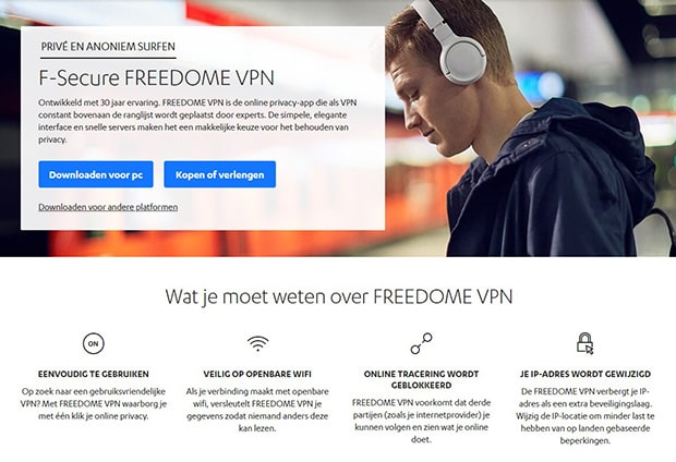 F-Secure FREEDOME VPN pagina