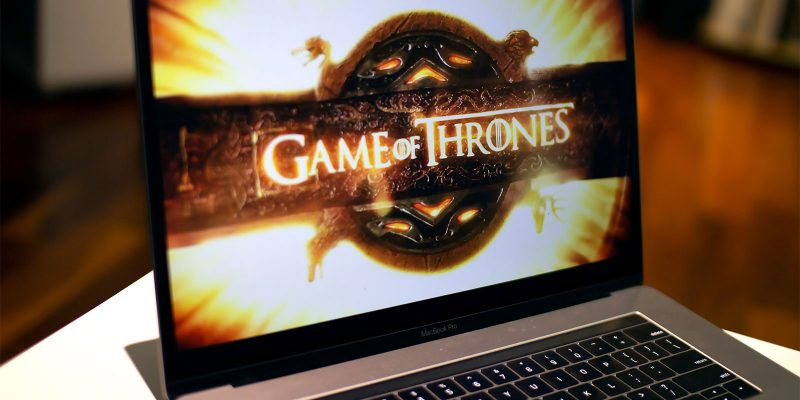Laptopscherm met Game of Thrones Logo
