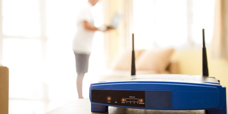 Router in woonkamer