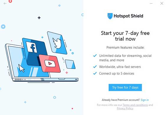 Hotspot Shield Dashbord Gratis Versie