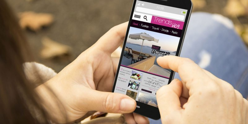 Website op smartphone