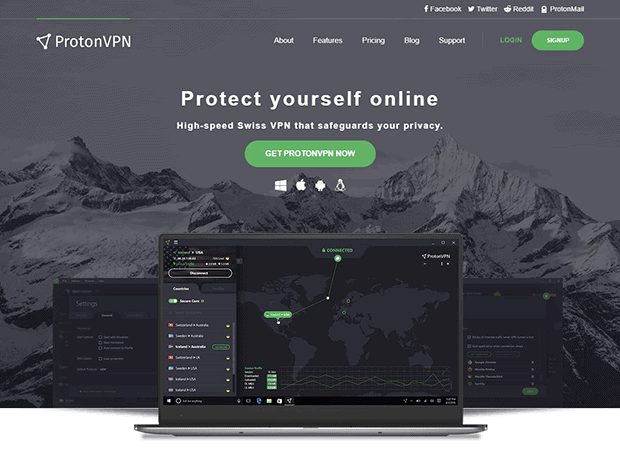 ProtonVPN website homepage