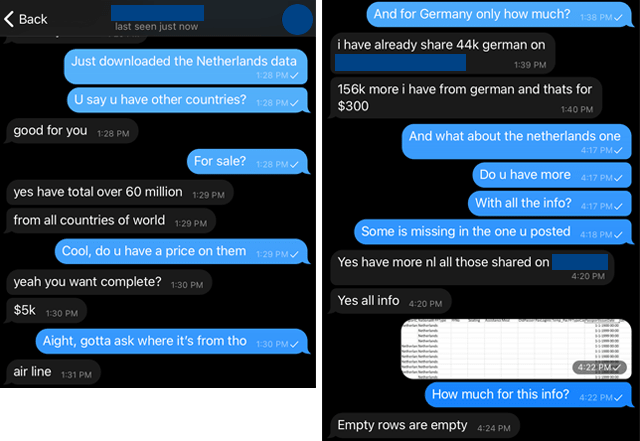 Screenshot of a chat with a vendor of leaked airline data