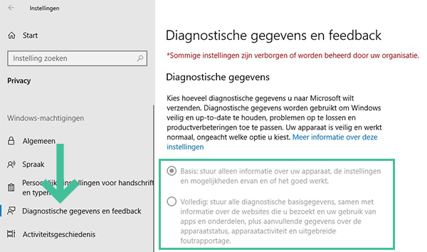 Screenshot Windows 10 privacy instellingen Feedback en Diagnose