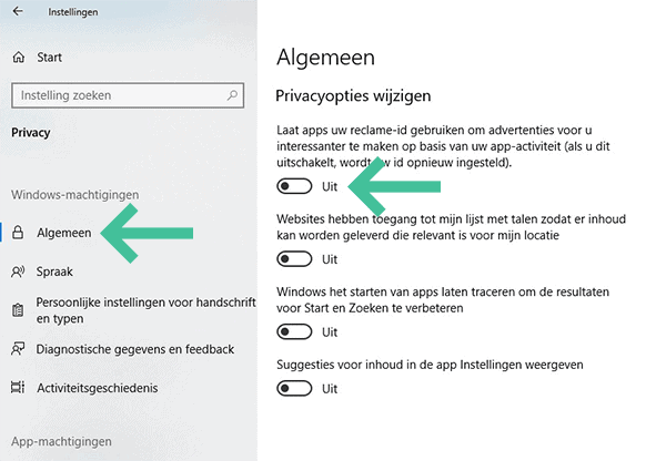 Screenshot Windows 10 privacyinstellingen algemeen reclame id