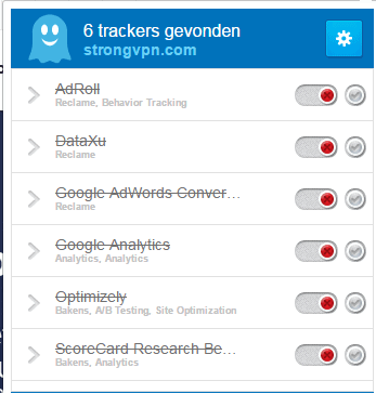 trackers op StrongVPN.com website