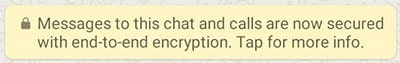 Bericht WhatsApp end-to-end encryptie